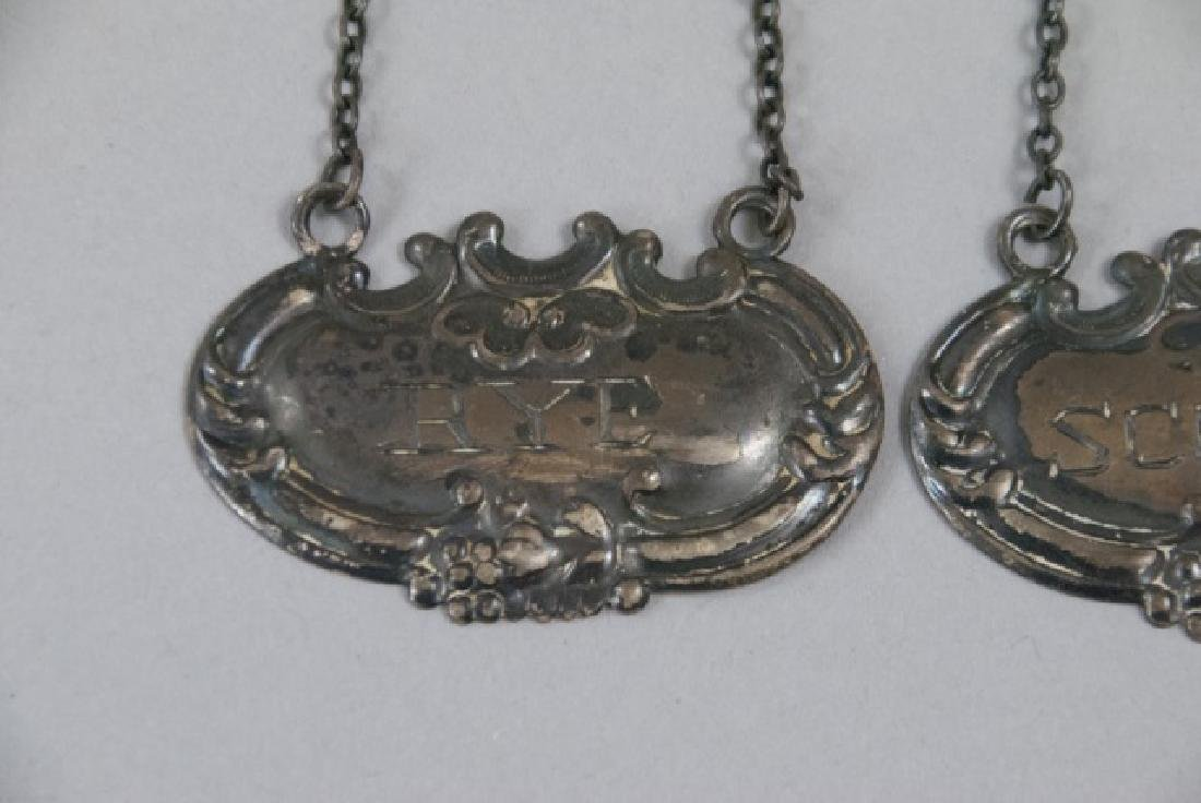 Pair 19th Century  Sterling Silver Decanter Tags - 3