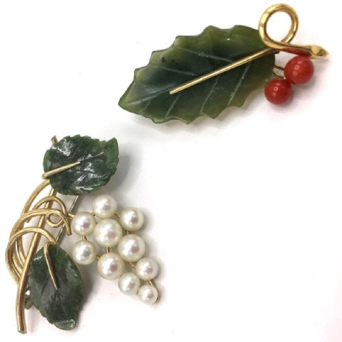 Pair Antique Gold Filled Jade, Pearl & Coral Pins