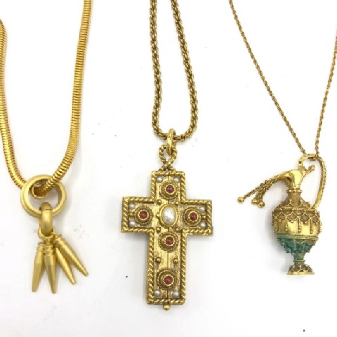 Lot of 3 Gold Tone Vintage Necklace Pendants - 2