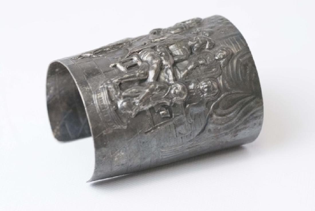 Estate Dutch Repousse Silver Tone Cuff Bracelet