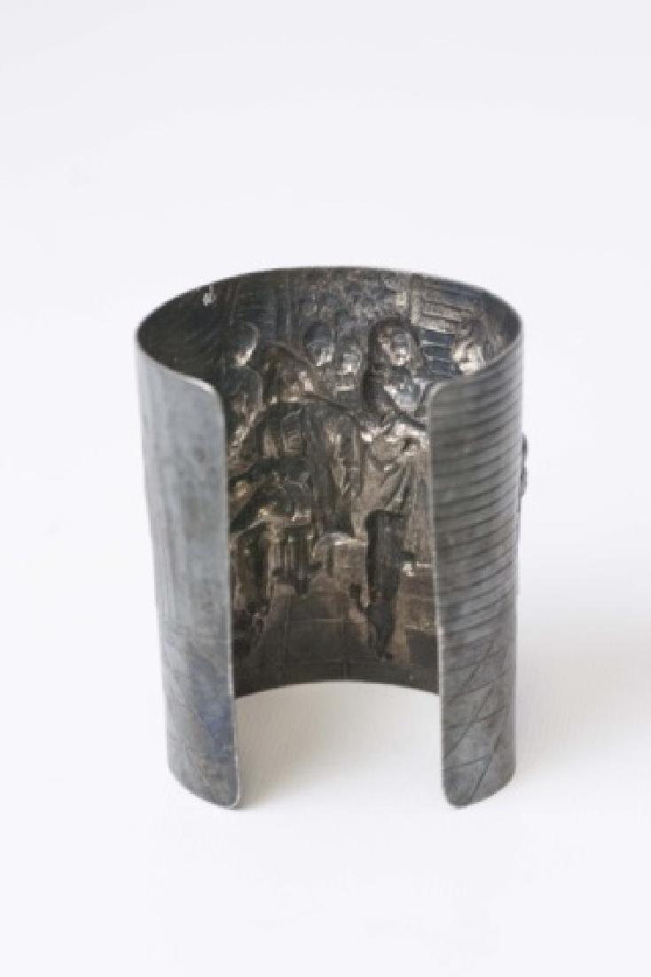 Estate Dutch Repousse Silver Tone Cuff Bracelet - 2