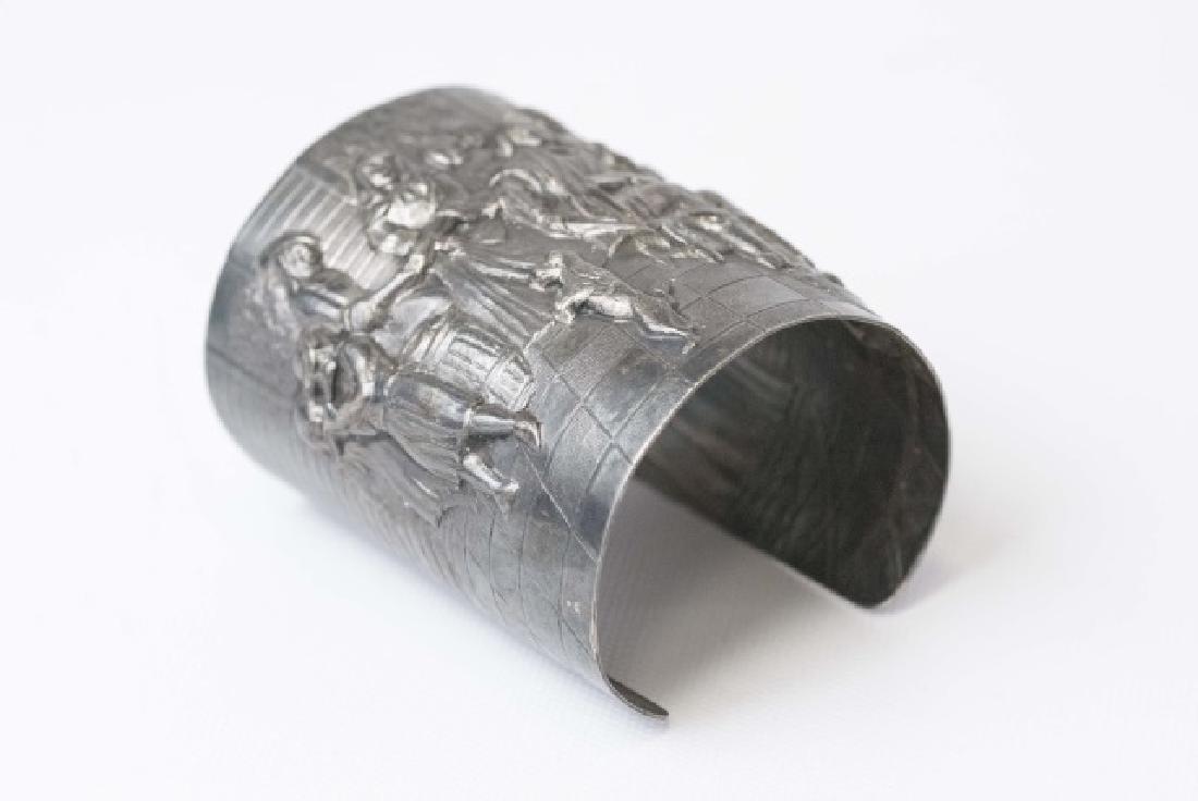Estate Dutch Repousse Silver Tone Cuff Bracelet - 3