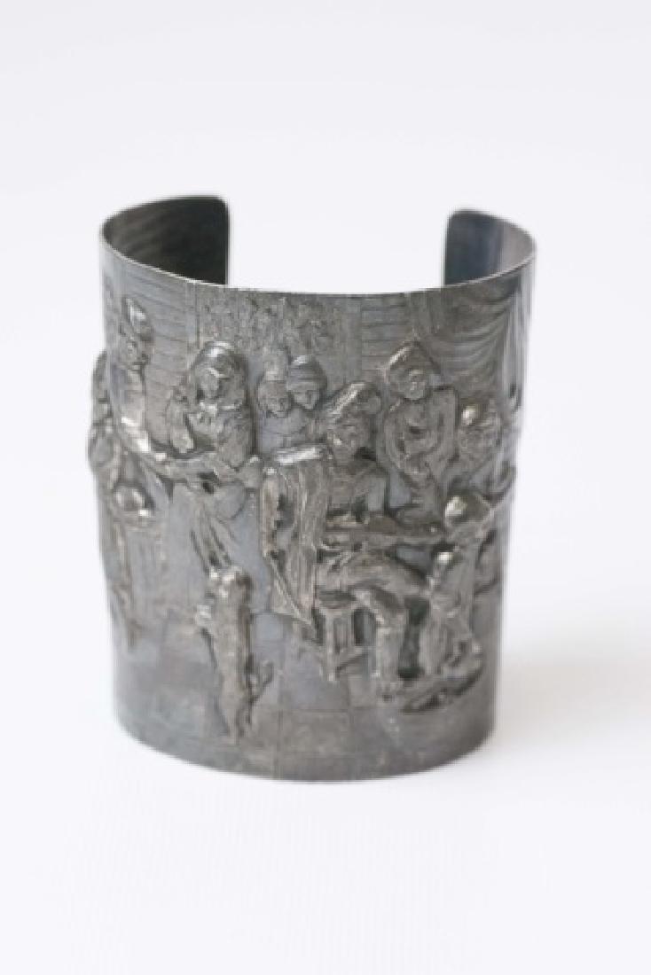 Estate Dutch Repousse Silver Tone Cuff Bracelet - 4