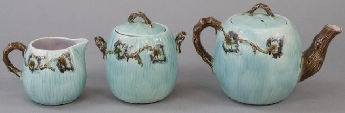 Matching Teapot Set Of Teal Majolica Pottery