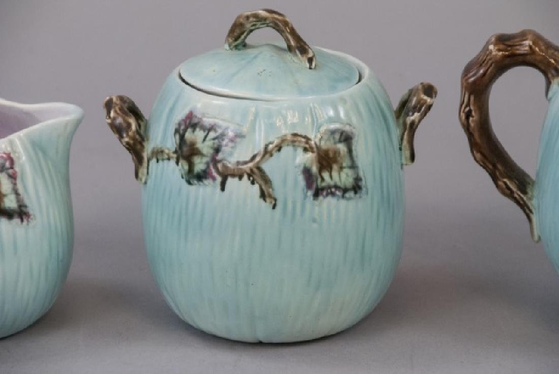 Matching Teapot Set Of Teal Majolica Pottery - 2
