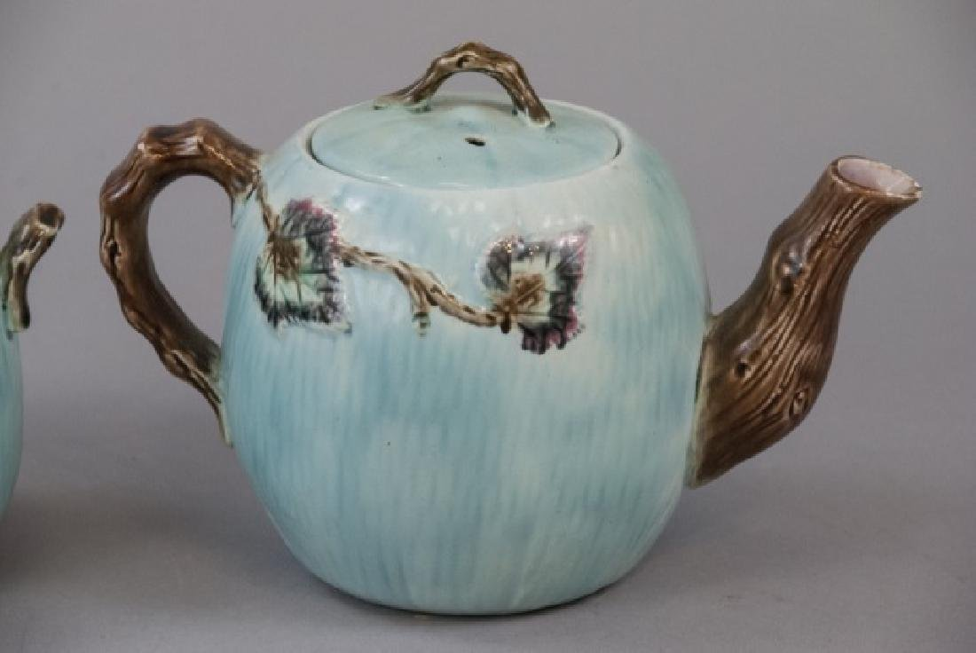 Matching Teapot Set Of Teal Majolica Pottery - 3
