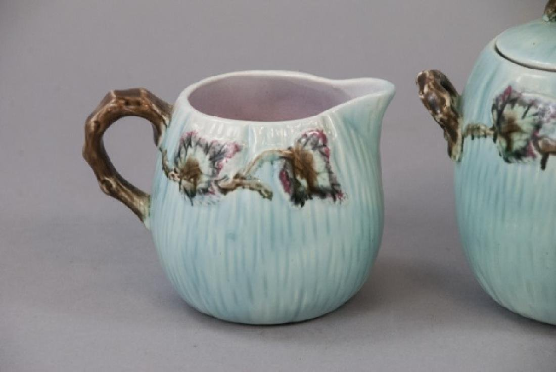 Matching Teapot Set Of Teal Majolica Pottery - 6