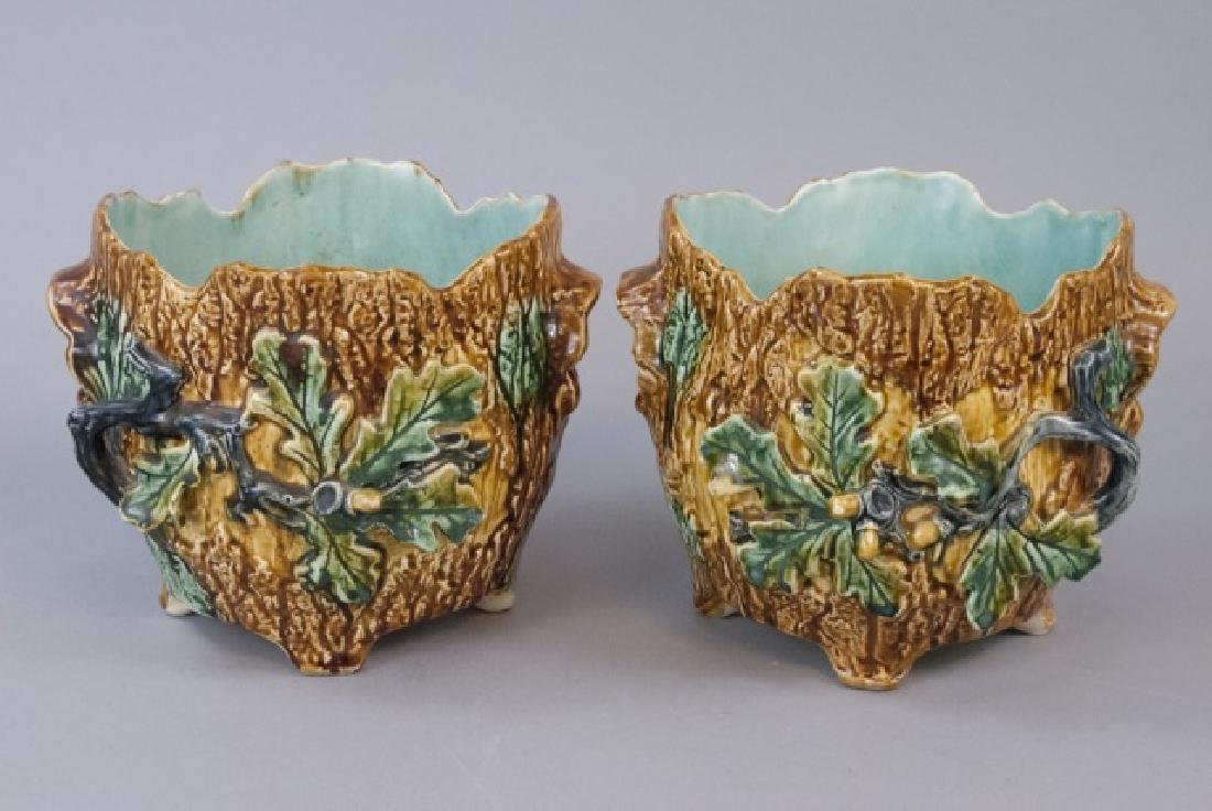 Matching Pair Of Vintage Majolica Planter
