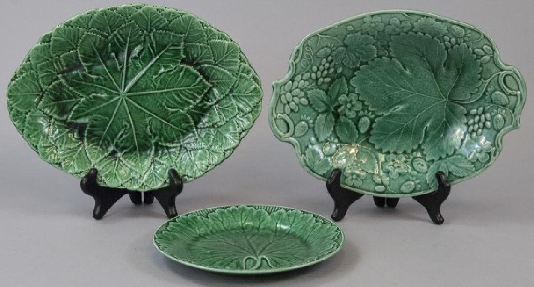 Assorted Lot Of Green Majolica Plate & Dishes