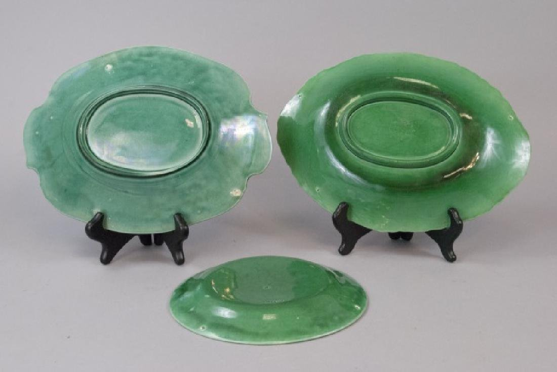Assorted Lot Of Green Majolica Plate & Dishes - 2