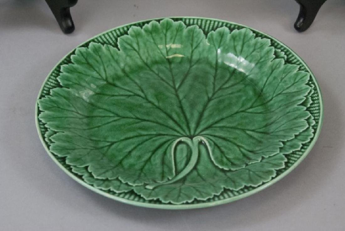 Assorted Lot Of Green Majolica Plate & Dishes - 5