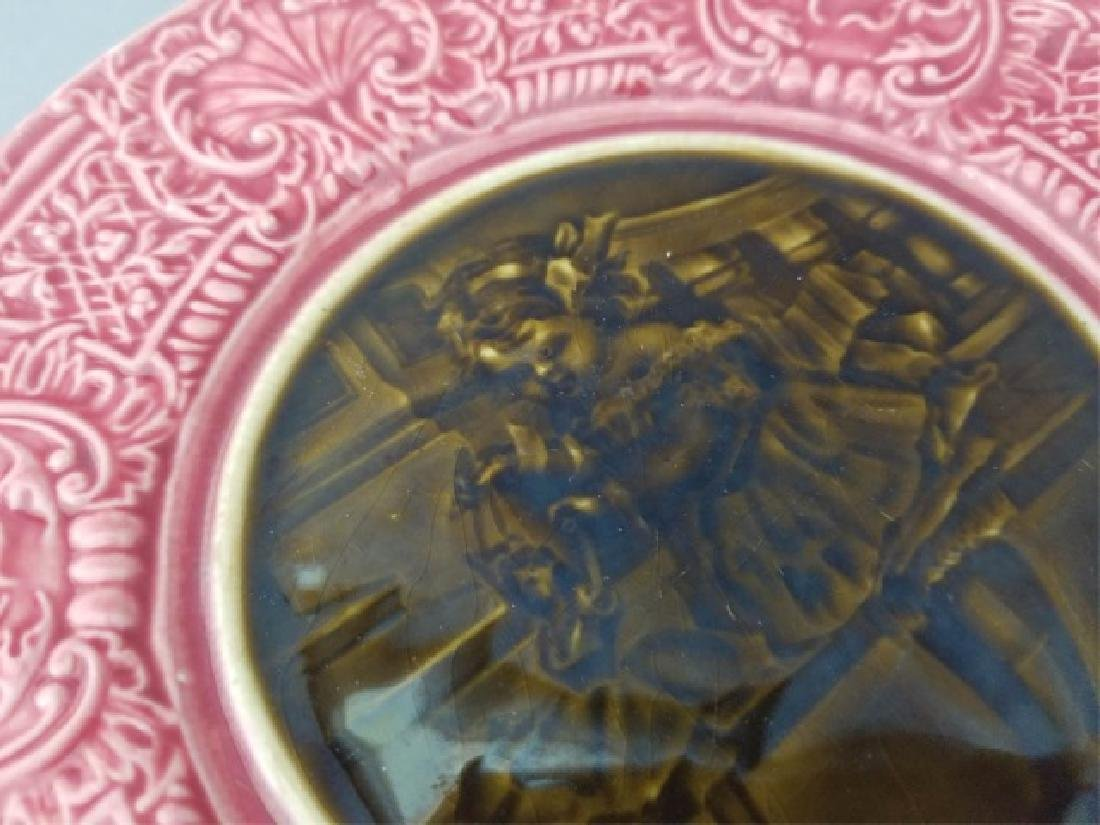 Pair Antique 19th C Majolica Plates - Girl w Doll - 2