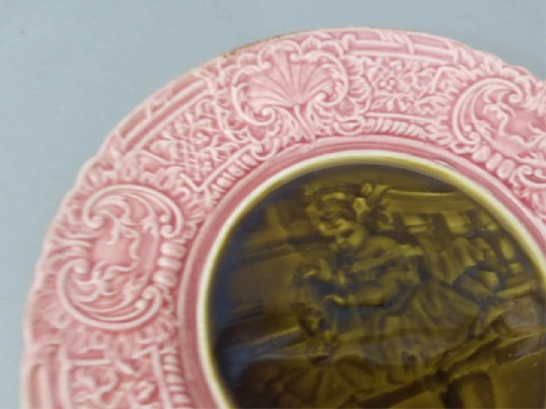 Pair Antique 19th C Majolica Plates - Girl w Doll - 3