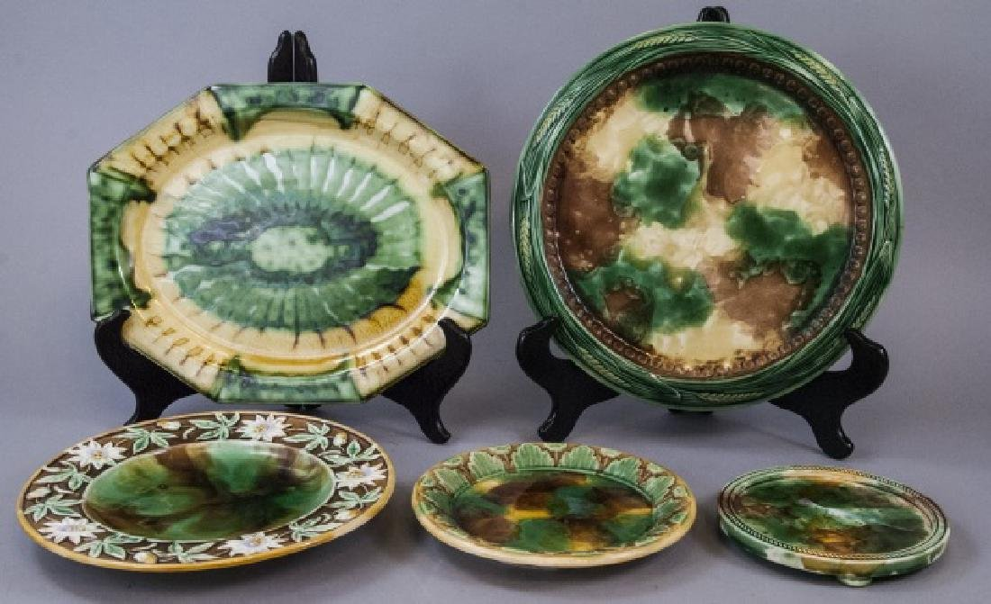 Assorted Spongeware Majolica Plates & Dishes