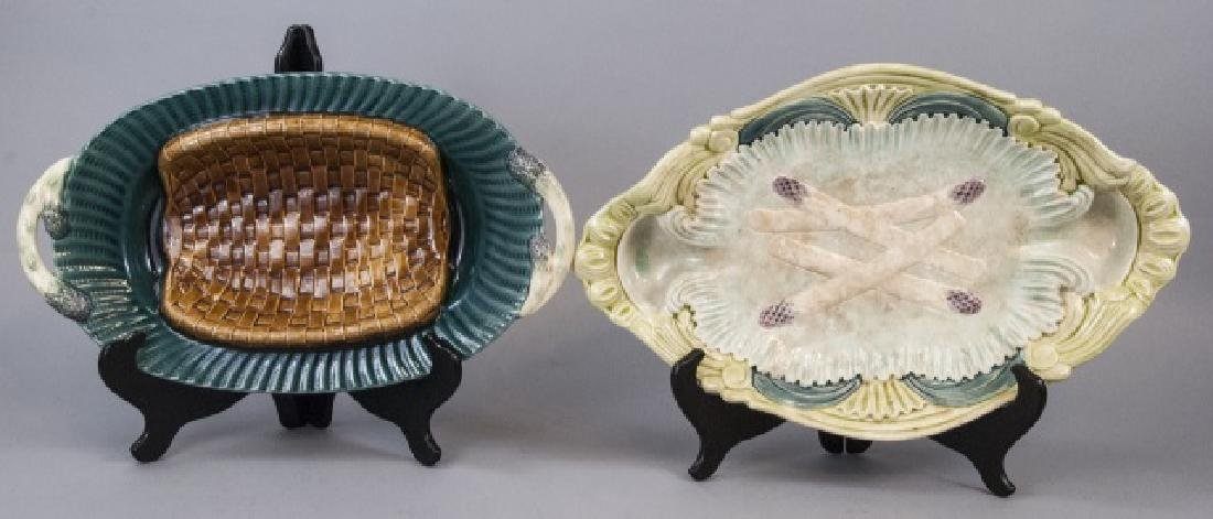 Two Vintage Asparagus Majolica Serving Dishes