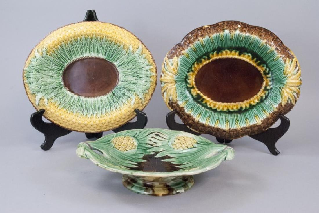 Three Assorted Pineapple Majolica Serving Dishes