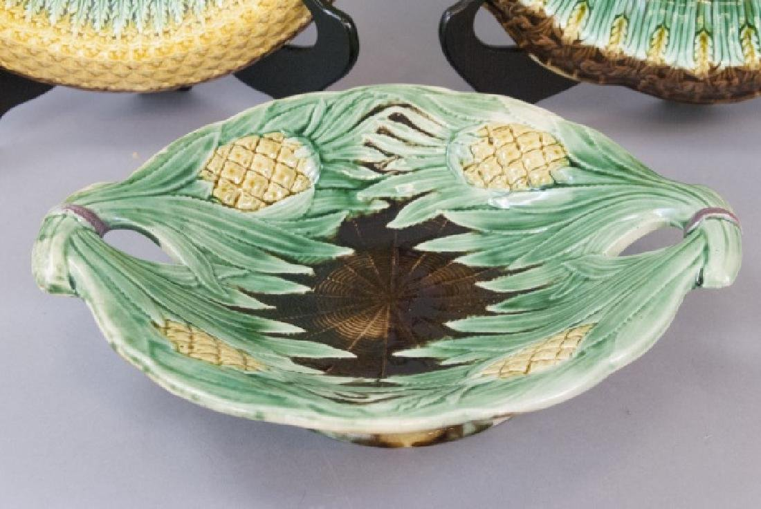 Three Assorted Pineapple Majolica Serving Dishes - 4