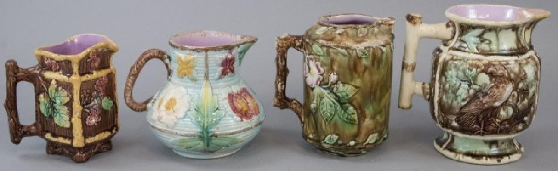 Assorted Lot Of 4 Majolica Water Jugs & Pitchers