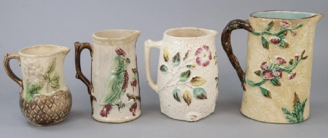 Assorted Lot Of 4 Majolica Water Pitchers & Jugs