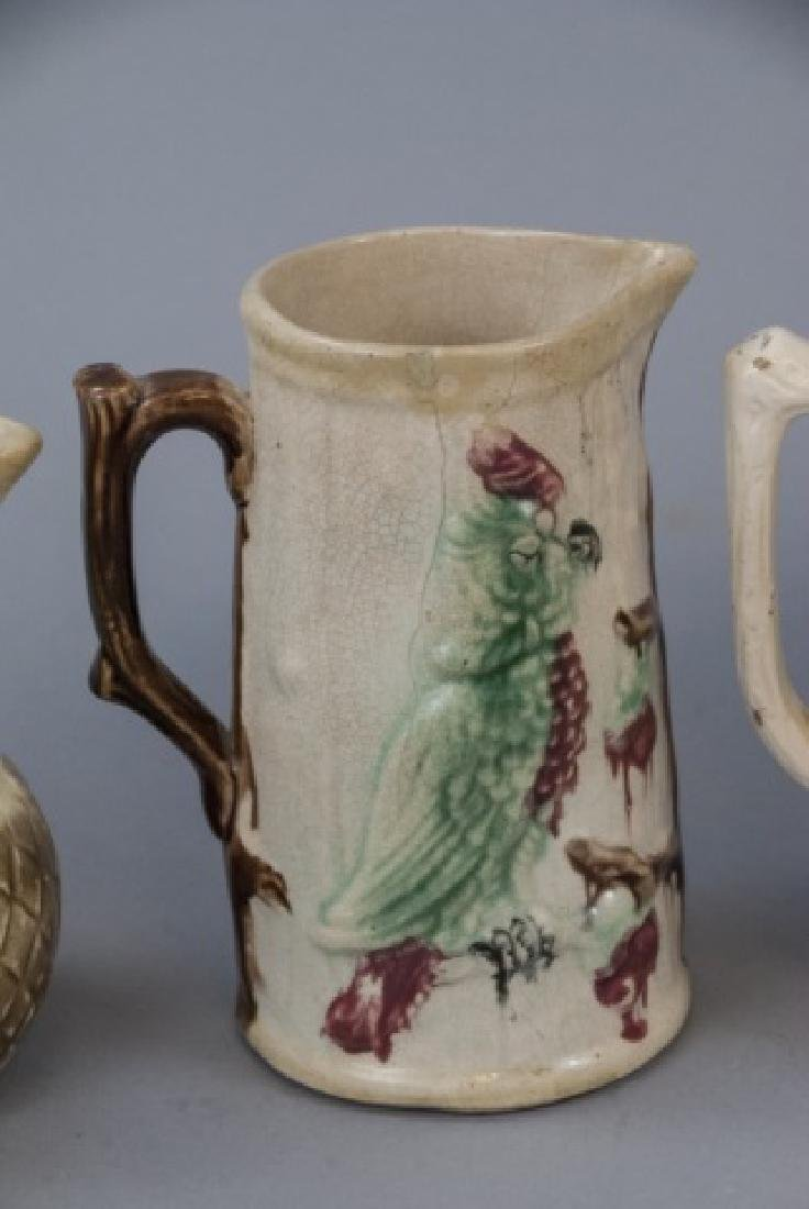 Assorted Lot Of 4 Majolica Water Pitchers & Jugs - 2