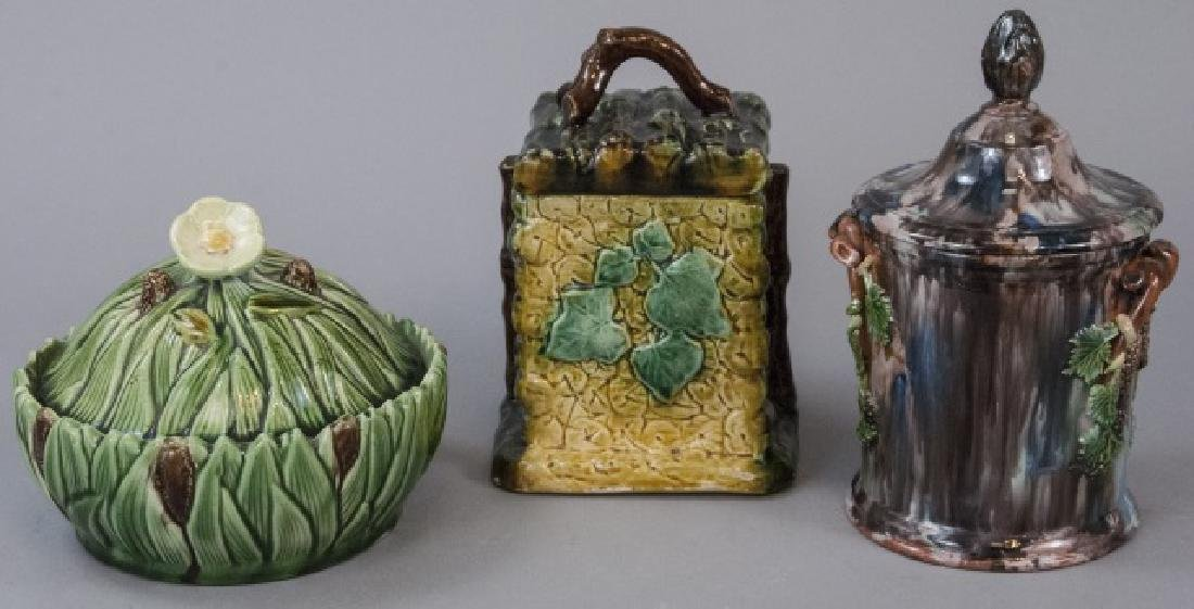 Three Assorted Majolica Containers W/ Tops