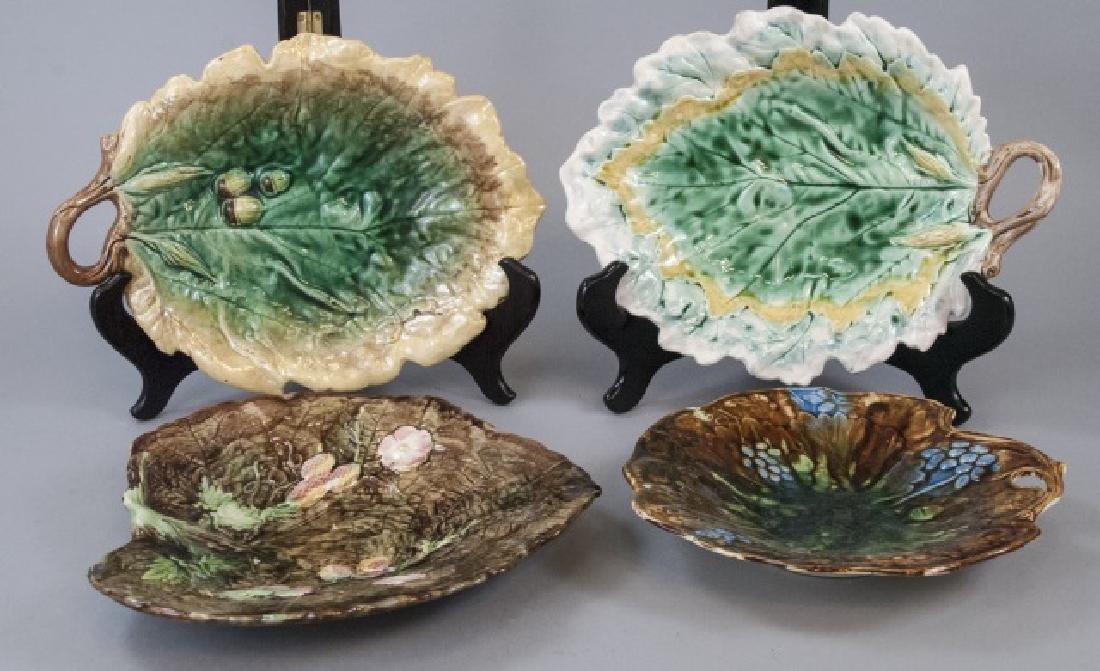 Four Assorted Leaf Shaped Majolica Plates