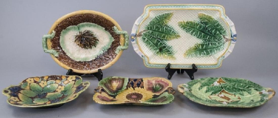 Five Assorted Majolica Serving Trays