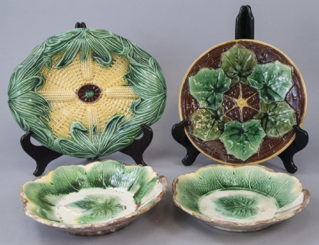 4 Assorted Majolica Plates & Serving Tray