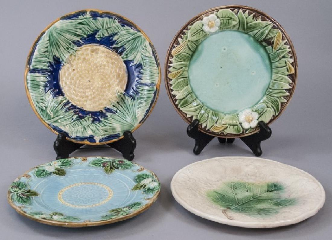 Four Assorted Vintage Majolica Plates