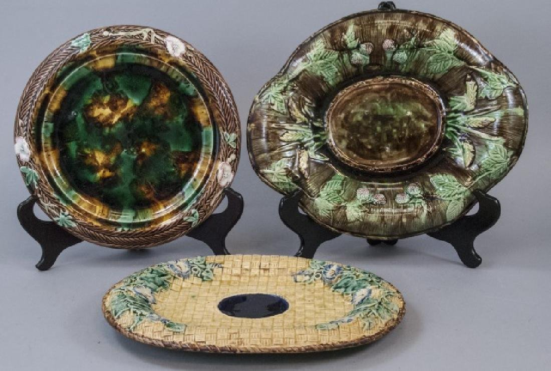 Three Antique & Vintage Majolica Serving Trays