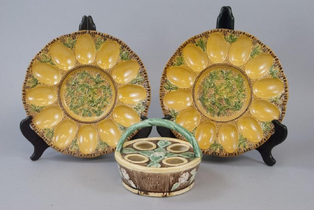 Vintage Majolica Egg Serving Plates & Basket