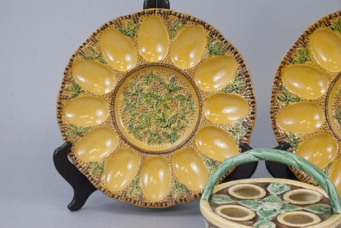 Vintage Majolica Egg Serving Plates & Basket - 3