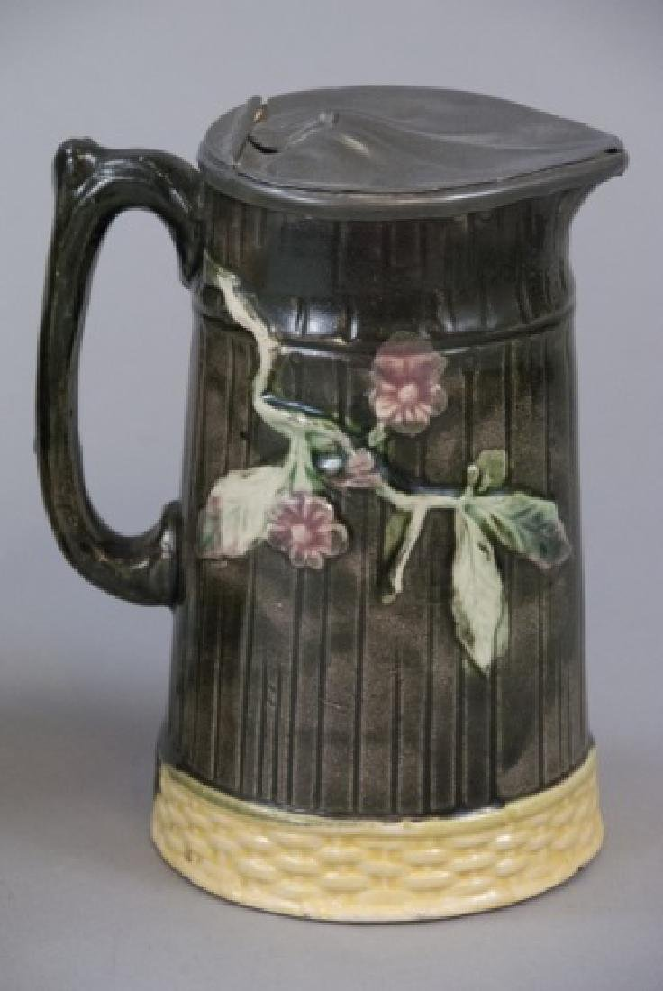 Two Majolica Water Pitchers W/ Tin Tops - 3