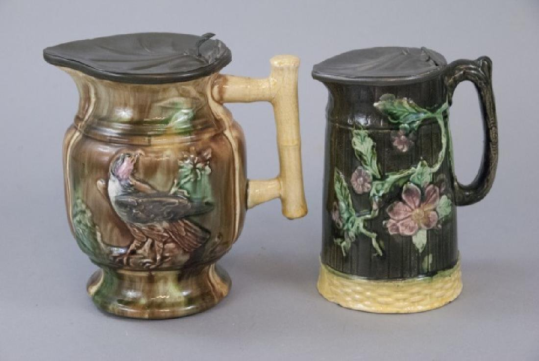 Two Majolica Water Pitchers W/ Tin Tops - 4
