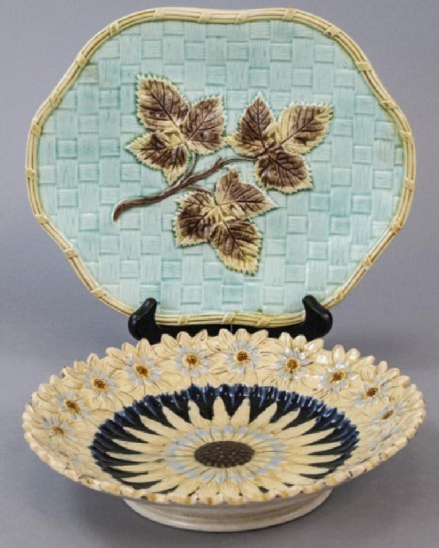 Two Vintage Assorted Majolica Plates