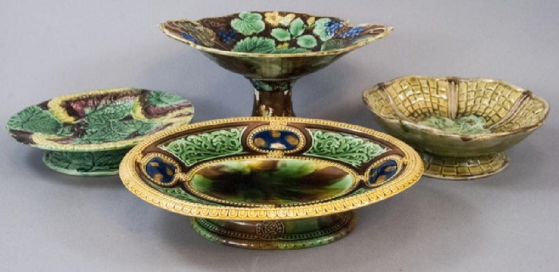 Four Assorted Vintage Majolica Compote Bowls