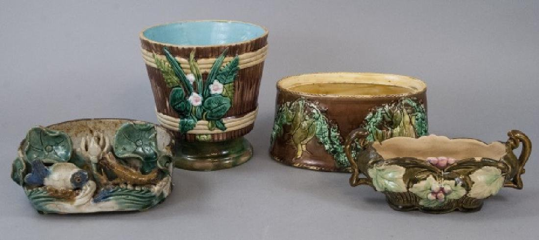 Four Assorted Majolica Containers & Planters