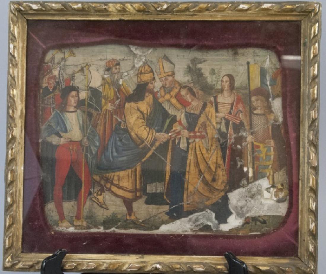 Antique 17th C Italian Tempera Painting on Panel