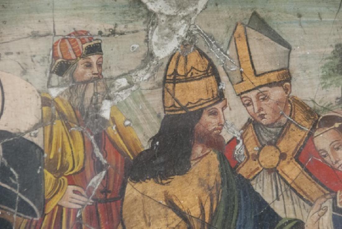 Antique 17th C Italian Tempera Painting on Panel - 5
