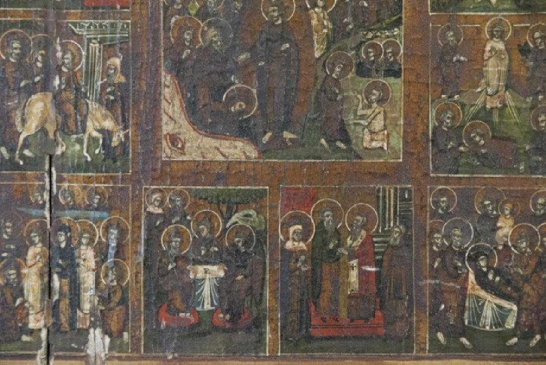 Antique 19th C Imperial Russian Icon w 12 Panels - 7