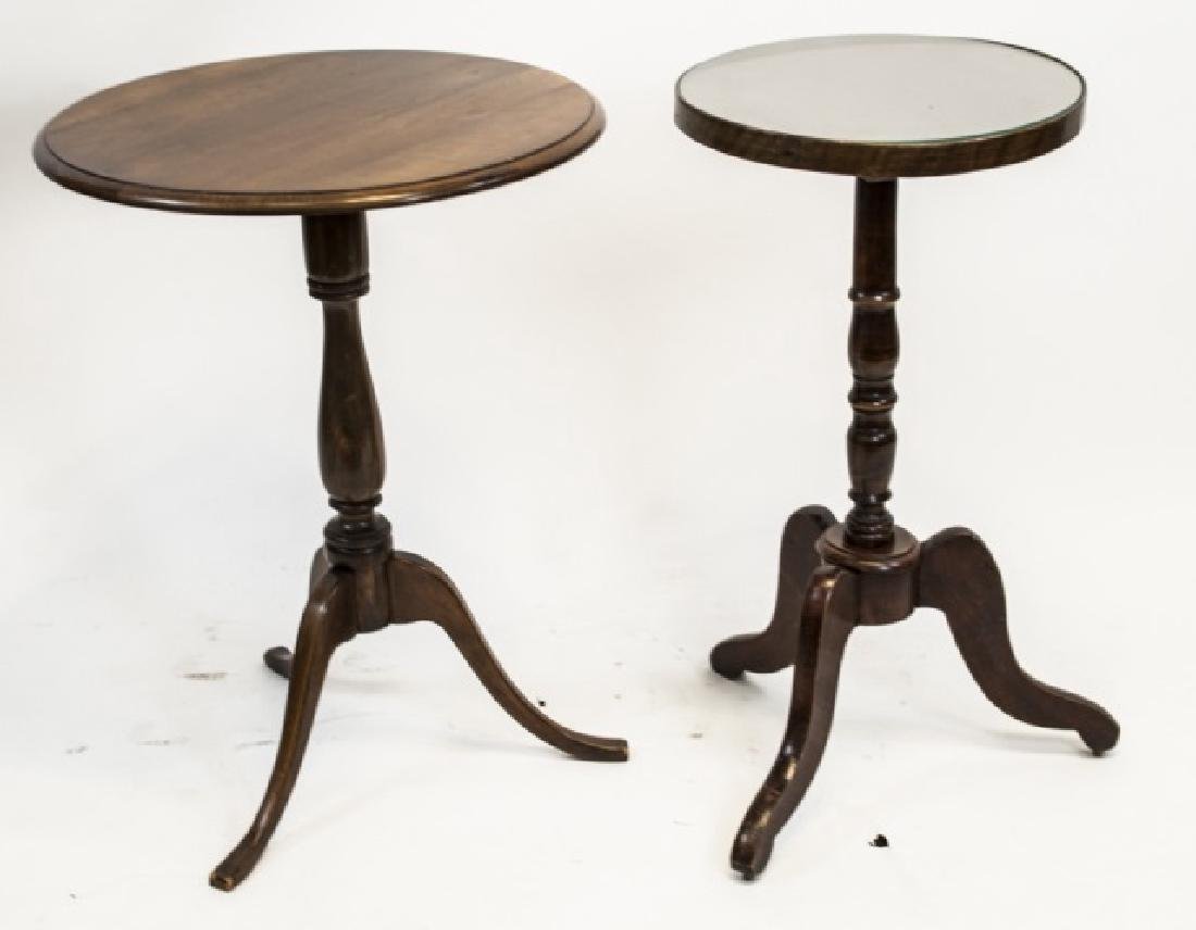 Two Antique Carved Pedestal Base Round End Tables