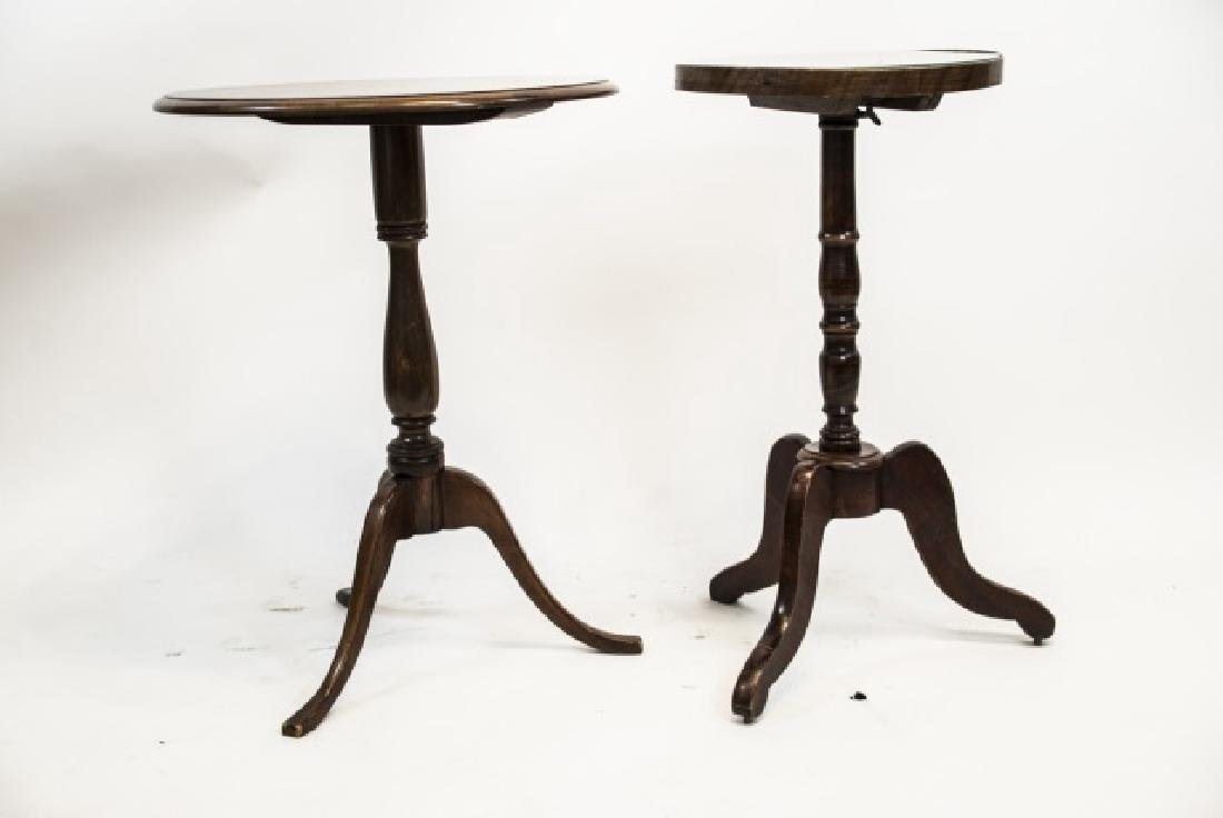 Two Antique Carved Pedestal Base Round End Tables - 3