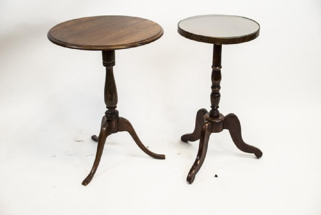 Two Antique Carved Pedestal Base Round End Tables - 4