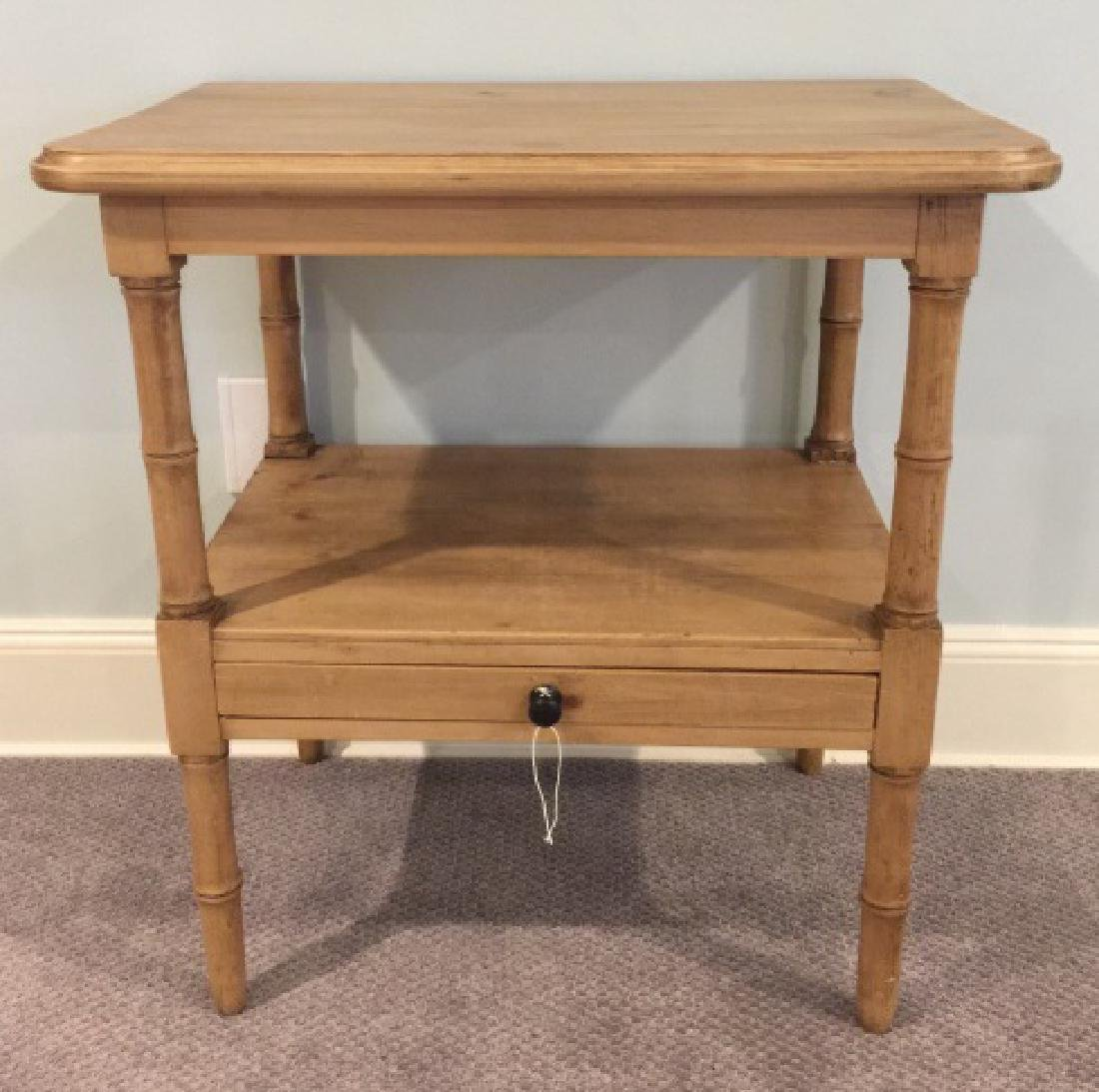 Antique Carved Pine Faux Bamboo Motif End Table