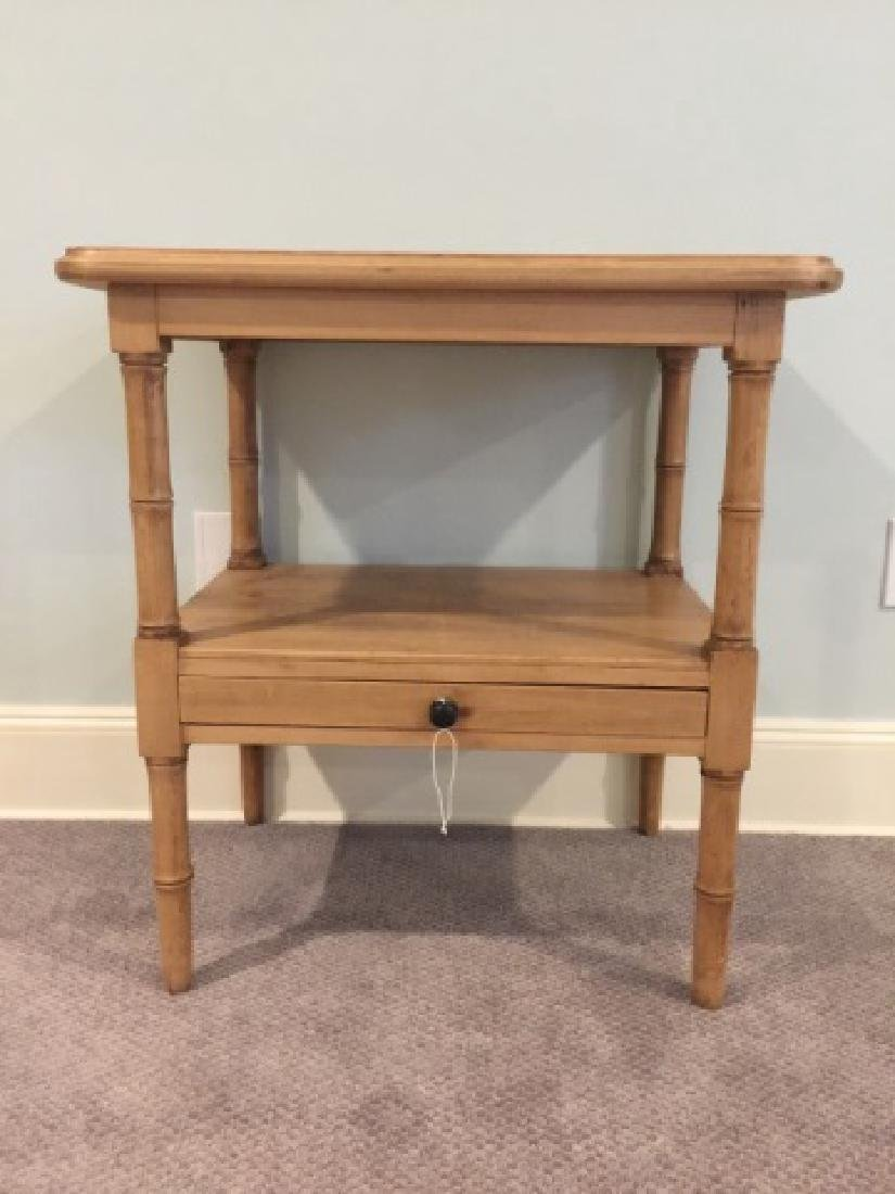 Antique Carved Pine Faux Bamboo Motif End Table - 2