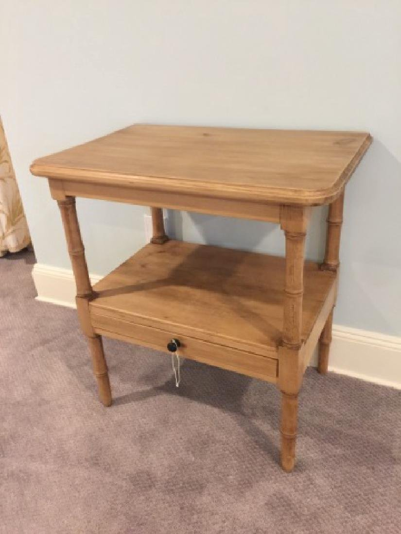 Antique Carved Pine Faux Bamboo Motif End Table - 3