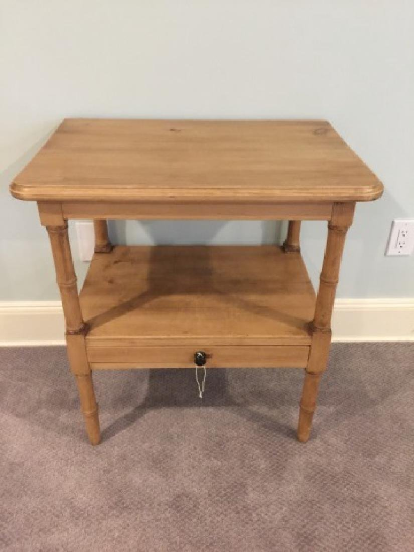 Antique Carved Pine Faux Bamboo Motif End Table - 4