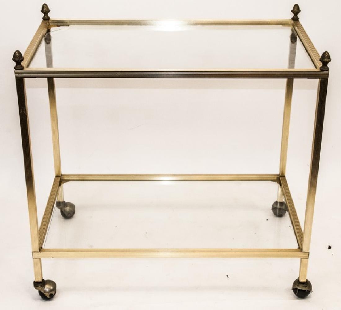Bar Cart / Serving Cart Ormolu Frame Glass Shelves