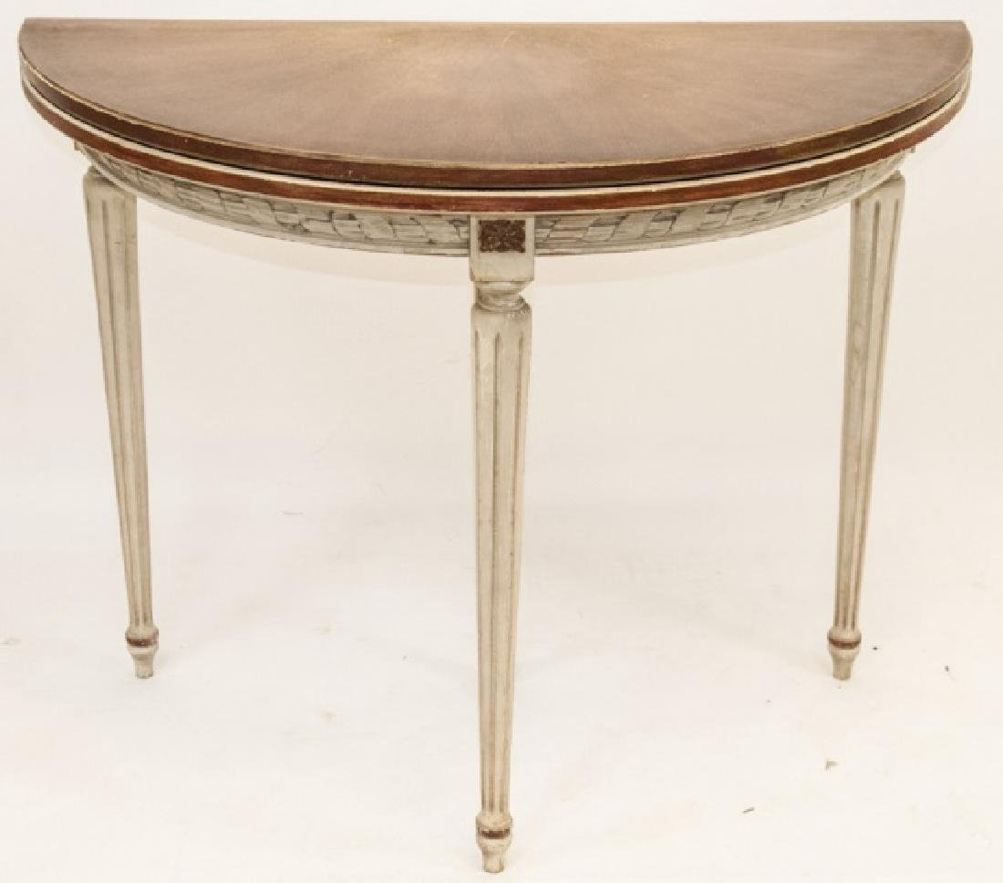Leather Top Louis XVI Style Demi Lune Table