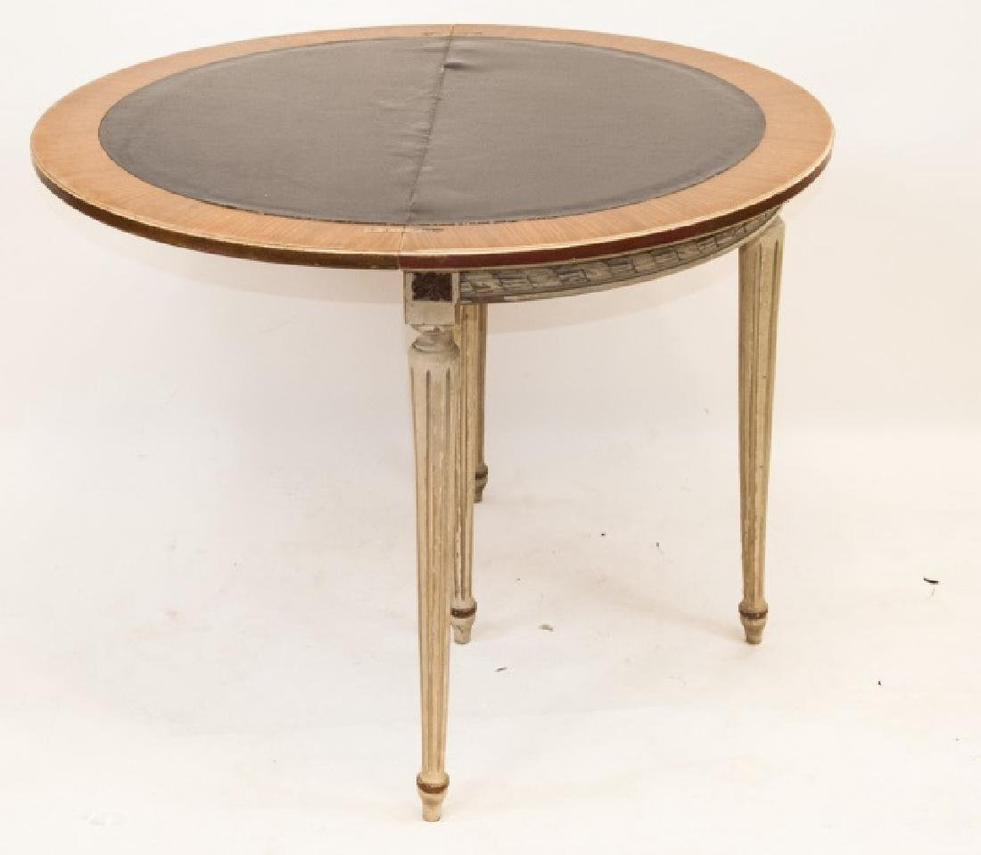 Leather Top Louis XVI Style Demi Lune Table - 2